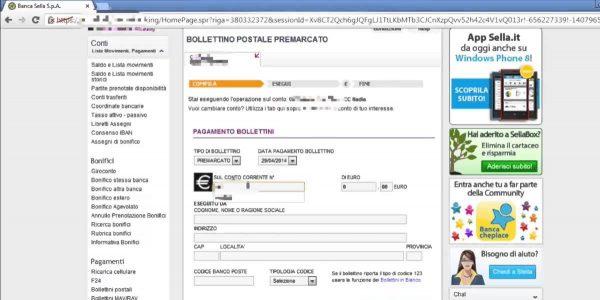 Home Banking per il pagamento di bollettini postali
