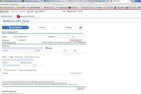 Servizi Banca online bonifici home banking