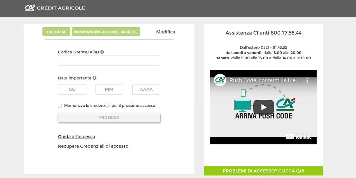 accedere al sistema Nowbanking Piccole Imprese